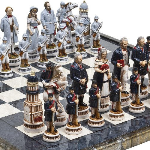 Bello Games Collezioni-American Civil War Luxury Chessmen & Mancini Chess Board from Italy. Giant Size King: 5 5/8
