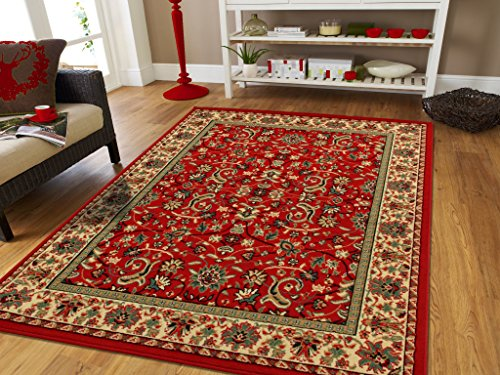 Large Oriental Rugs 2x3 Traditional Rugs Red Cream Green Persian Rugs for Living Room Reds 2x4 All-Over Persian Carpet Area Rugs