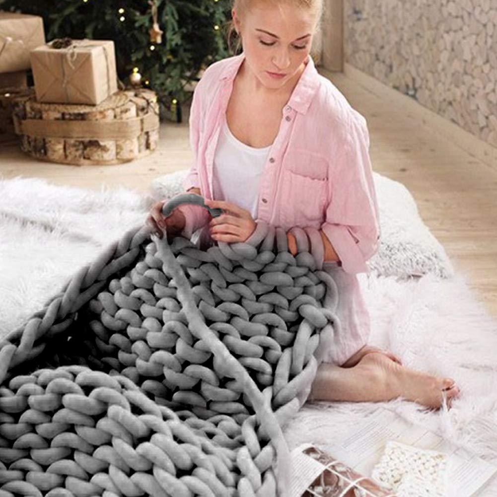 Beige 15m Nordic DIY Hand-Woven Blanket Core Yarn Giant Wool Roving Yarn Round Coarse Line Knitting Yarn DIY Gift for Arm Knitting,Crocheting Felting blue--net Super Chunky Acrylic Yarn