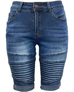 3b0b45c3f653c Xudom Womens Middle Rise Elastic Denim Shorts Knee Length Curvy Bermuda  Stretch Short Jeans