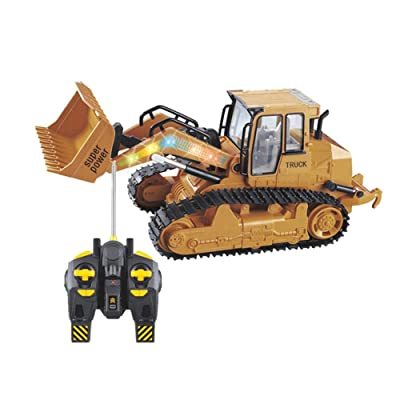 1:12 RC Truck Alloy Shovel Loader Tractor Radio Control 4 Wheel Bulldozer Front Loader Construction Vehicle Electronic Toys Game Hobby Model with Light and Sounds : Baby