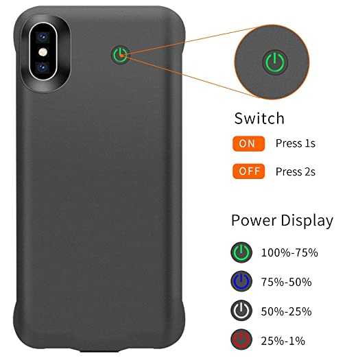 Amazon.com: iPhone Xs/X Battery Case, 4000mAh Ultra Thin Charging Case for iPhone X/Xs, Support Headphones, Black: Cell Phones & Accessories