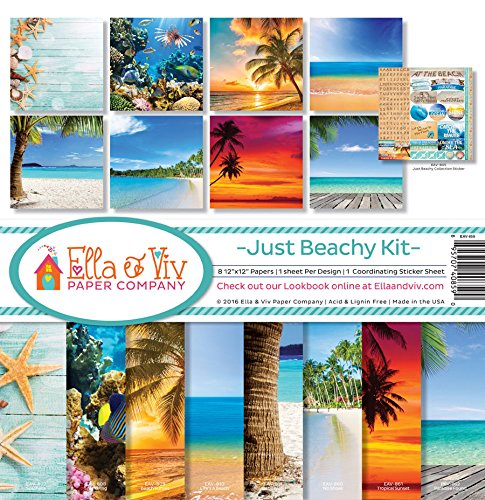Ella & Viv by Reminisce EAV-859 Ella & Viv Just Beachy Scrapbook Collection Kit (Tropical Scrapbook Paper)