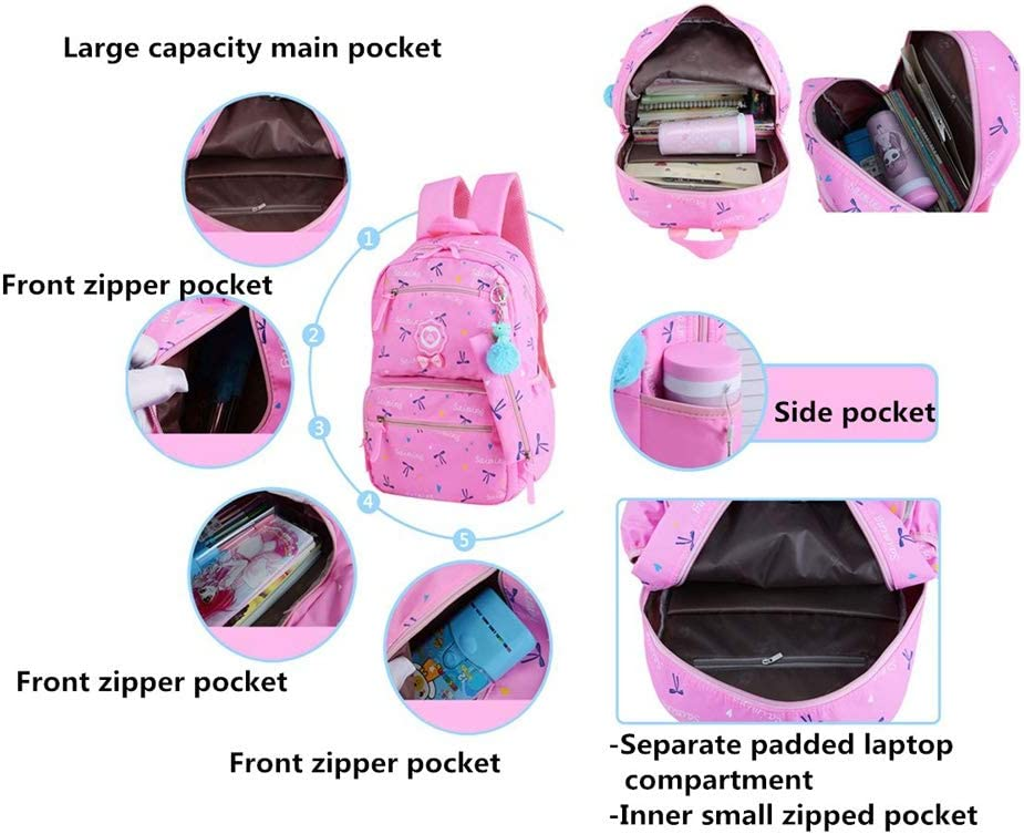 Color : Purple MMJ Primary School Backpack Three-Piece Bow 1-3-4-5 Grade Cute Girl School Bag