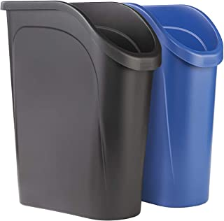 product image for Rubbermaid 6.4G Undercounter Wastebasket 2 Pack, Blue and Black for Dual Stream Waste and Recycling