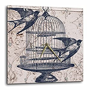 3dRose DPP_110264_3 Vintage Birds with Bird Cage Steampunk Art Wall Clock, 15 by 15″