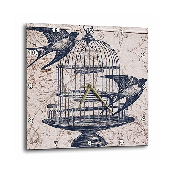 "3dRose DPP_110264_3 Vintage Birds with Bird Cage Steampunk Art Wall Clock, 15 by 15"" 3"