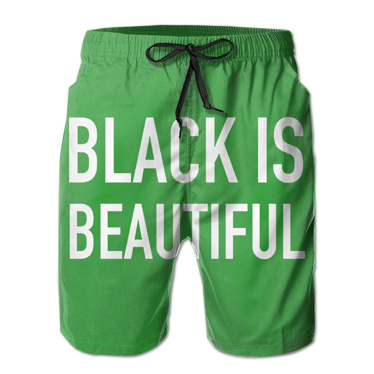 WWT Black is Beautiful Mens Quick Dry Beach Board Short with Mesh Lining//Side Pockets