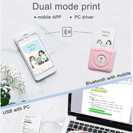 Wj Mini Impresora portátil de Fotos Impresora térmica inalámbrica ...