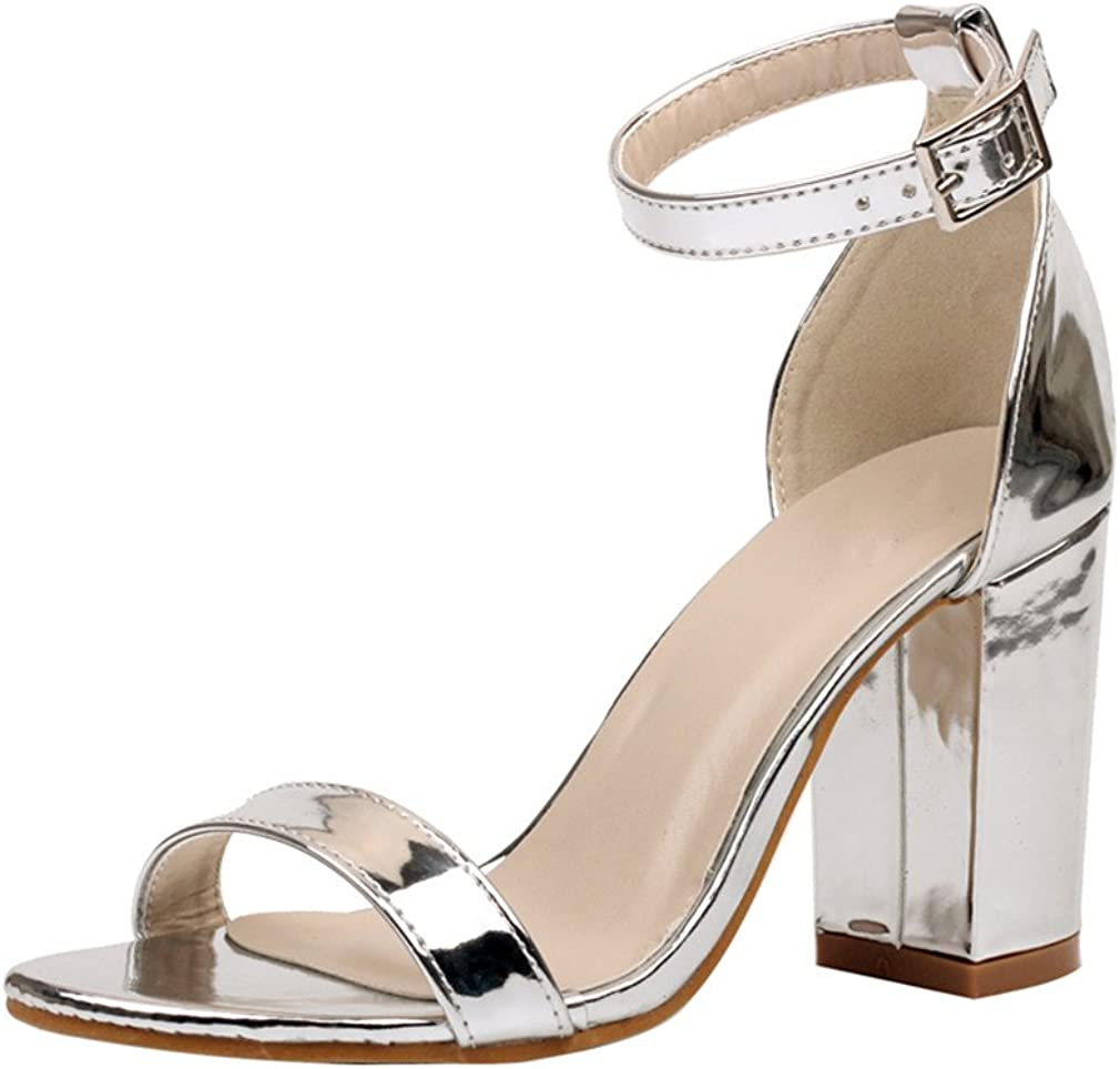 Summer Women Sandals Thick Square Block High Heel Shoes Woman Patent Leather Ankle Strap Pumps Wedding Dress Shoes