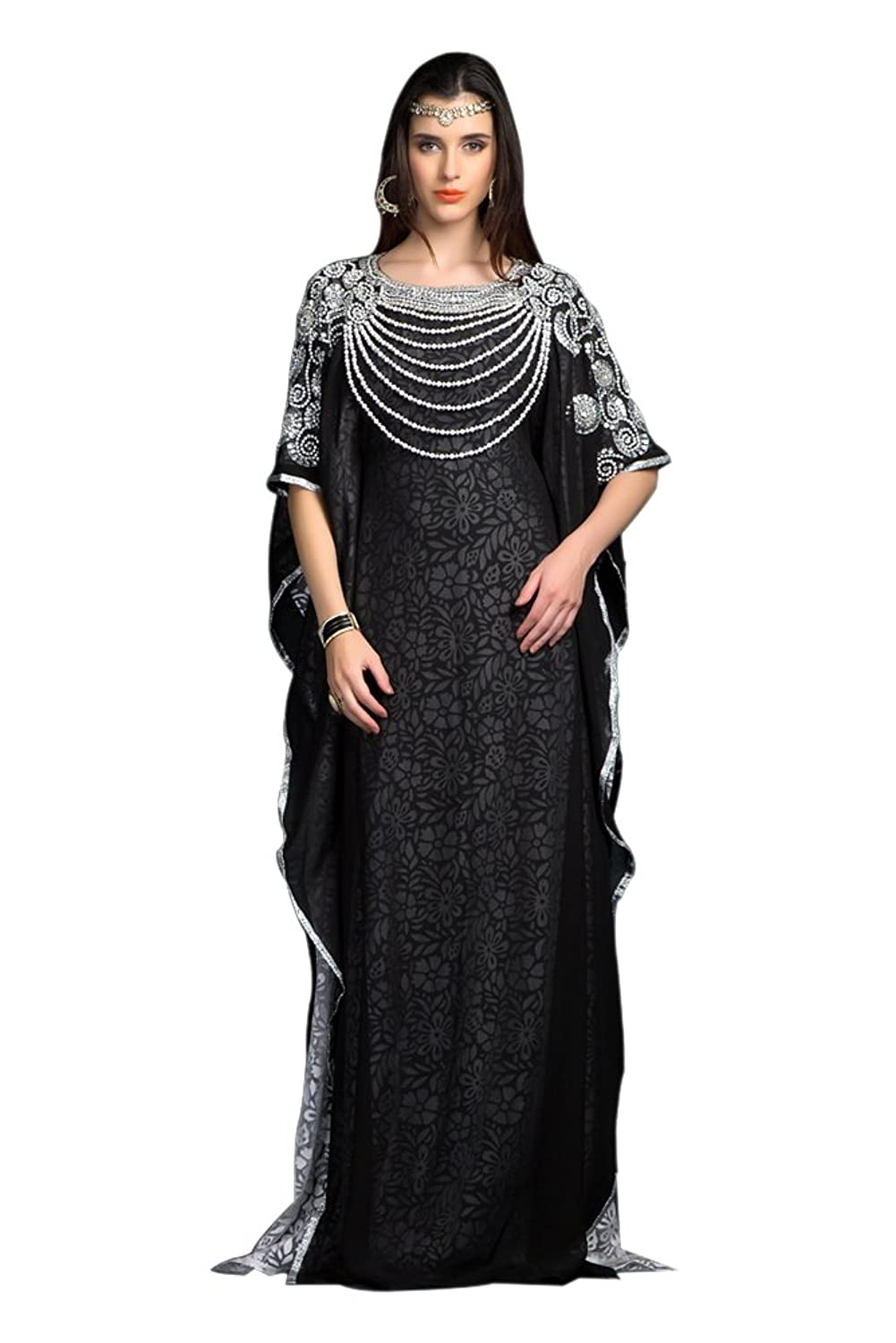 PalasFashion Women's Black and White Designer maxi Dress Kaftan - One Size