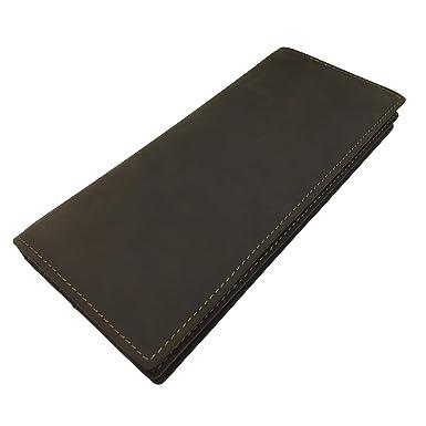53d412839466 Men's Wallet, Genuine Leather Bifold Zipper Pocket Long Wallets Billfold  for Men with Credit Card slots & ID Window