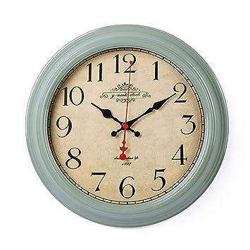 XJYA Reloj De Pared Silencioso Reloj Redondo De Pared, Vintage Reloj De Madera para Sala De Estar, Habitaciones, Cocina, Hogar Décor 16In,B: Amazon.es: ...