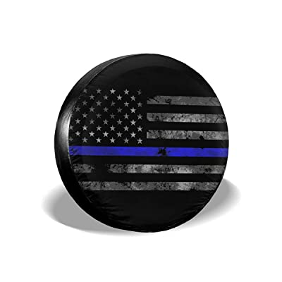 ULNL Firefighter Thin Red Line American Flag Spare Wheel Tire Cover Funny Waterproof Tire Protectors Novelty: Clothing