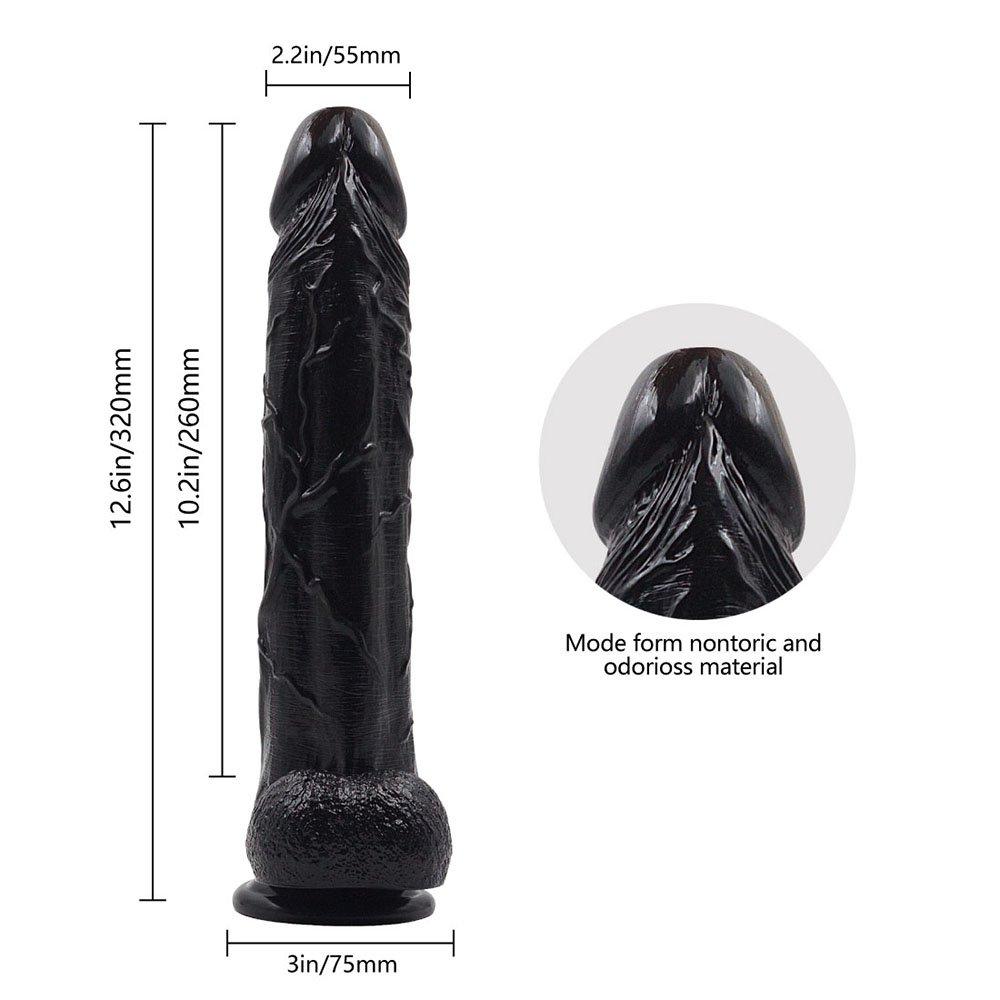 CXLL Pene Realista Súper Suave Consolador Con Con Consolador Trompeta Ventosa Base Vaginal Punto G Y Juego Anal 12.5 Pulgadas,Black 0c093a