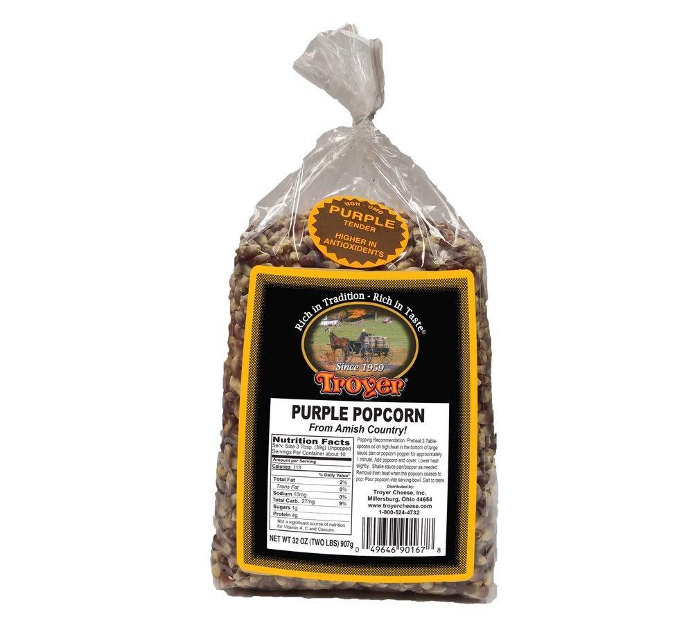 Amish Popcorn Gluten Free, NON GMO Tender Purple Popcorn - Troyer Farms - 2 lb. Bag