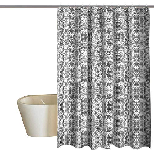 Denruny Shower Curtains Tropical Grey,Vertical Border Abstract Flora,W48 x L72,Shower Curtain for clawfoot tub ()