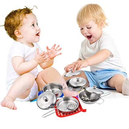 8188a1164b5b Gbell Kids Kitchen Pretend Cookware Set - Colorful Stainless Steel Kitchen  Cooking Utensils Pots Pans Kit