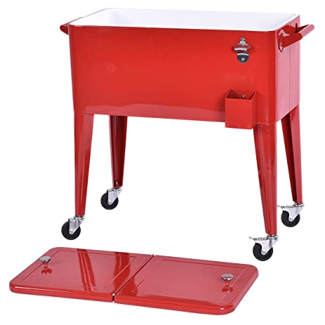Cooler Cart Ice Beer Beverage Red Outdoor Patio 80 Quart Chest Party  Portable