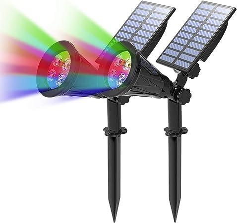 2 Unidades)  T-SUN Foco Solar, Impermeable Luces Solares Exterior, 4 Color Cambio, 2 Modos de Iluminación Opcionales, ángulo de 180° Ajustable, Luz de Jardín para Entrada, Entrada, Camino.: Amazon.es: Hogar