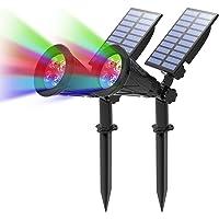 T-SUN (2 Unidades Foco Solar, Impermeable Luces Solares Exterior, 4 Color Cambio, 2 Modos de Iluminación Opcionales, ángulo de 180° Ajustable, Luz de Jardín para Entrada, Entrada, Camino.