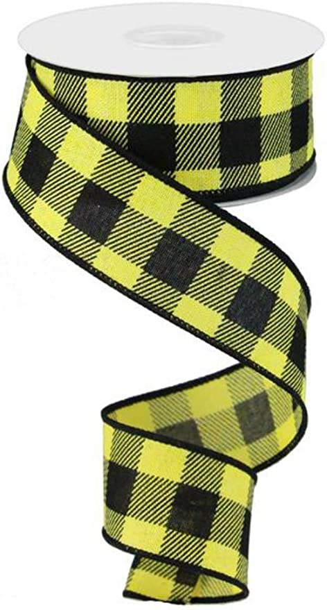 "5 Yards Red Yellow Stitched Plaid Ribbon 1 1//2/""W"