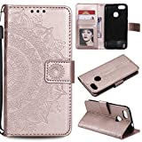 Floral Wallet Case for Huawei P9 Lite Mini,Strap Flip Case for Huawei P9 Lite Mini,Leecase Embossed Totem Flower Design Pu Leather Bookstyle Stand Flip Case for Huawei P9 Lite Mini-Rose Gold