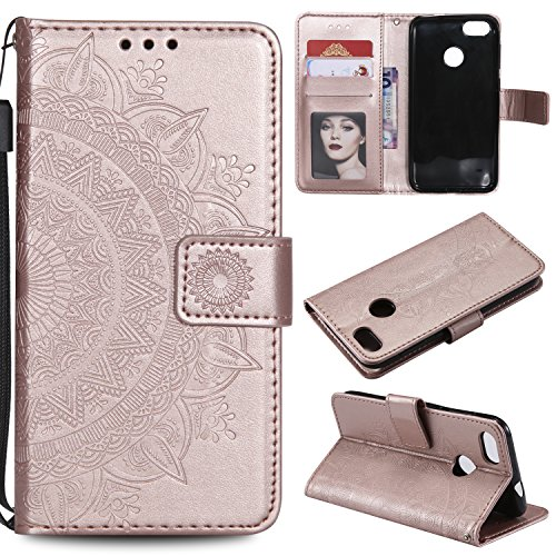 Floral Wallet Case for Huawei P9 Lite Mini,Strap Flip Case for Huawei P9 Lite Mini,Leecase Embossed Totem Flower Design Pu Leather Bookstyle Stand Flip Case for Huawei P9 Lite Mini-Rose Gold by Leecase