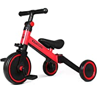Kiwicool 3 in 1 Kids Tricycles for 1.5-4 Years Old Kids Trike 3 Wheel Bike Boys Girls Toddler Tricycles, Color: Red (Red…