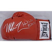 $279 » Mike Tyson & Evander Holyfield Autographed Red Everlast Boxing Glove LH Signed In Silver Beckett BAS Stock #155779