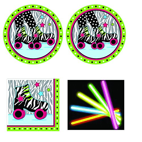 Retro Roller Skate Party supplies Pack, 12-16 guests, lunch plates, napkins, plus bonus glow sticks for $<!--$34.99-->