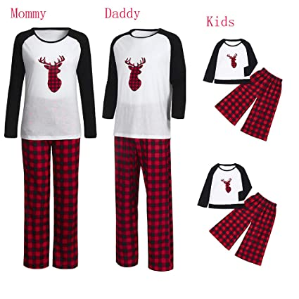 a4f87c14b3 Iusun Matching Family Pajamas Christmas Elk Head Plaid Printing Sleepwear  Cotton Blends PJs for Men Women