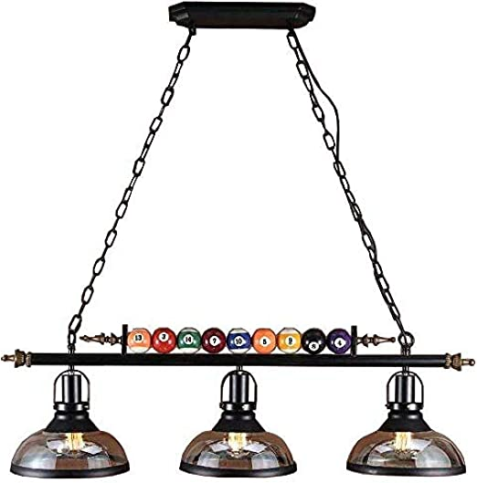 Lámpara colgante Billar estilo restaurante bar tienda de ropa creativa 3 luces de cristal decorativos de hierro forjado lámpara de mesa 98x130cm negro: Amazon.es: Iluminación