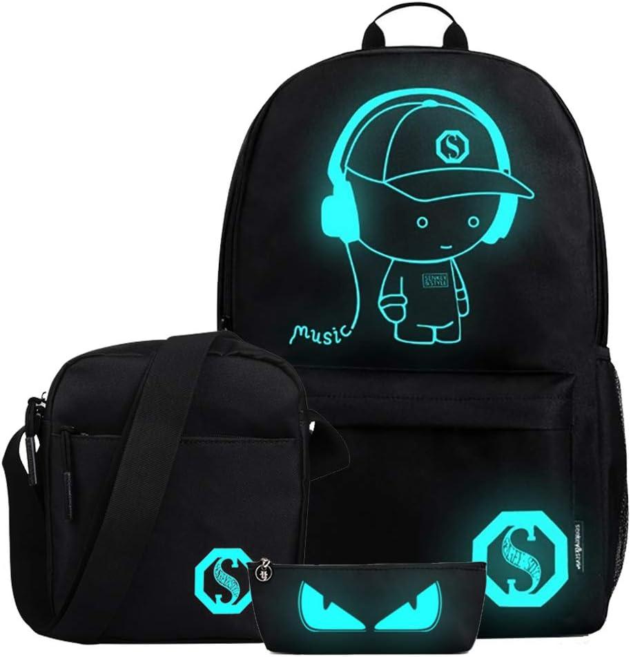 FLYMEI Anime Luminous Backpack for Boys, Girls School Daypack with Shoulder Bag 17'' Laptop Back Pack, Lightweight Travel Bag, Cool Cartoon Backpack for Men