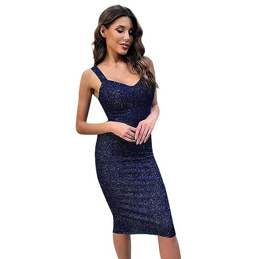 392bf1b2d11c ANJUNIE Women V Neck Bodycon Dress Wrap Ruched Sleeveless Nightclub Party  Mini Dress(Blue