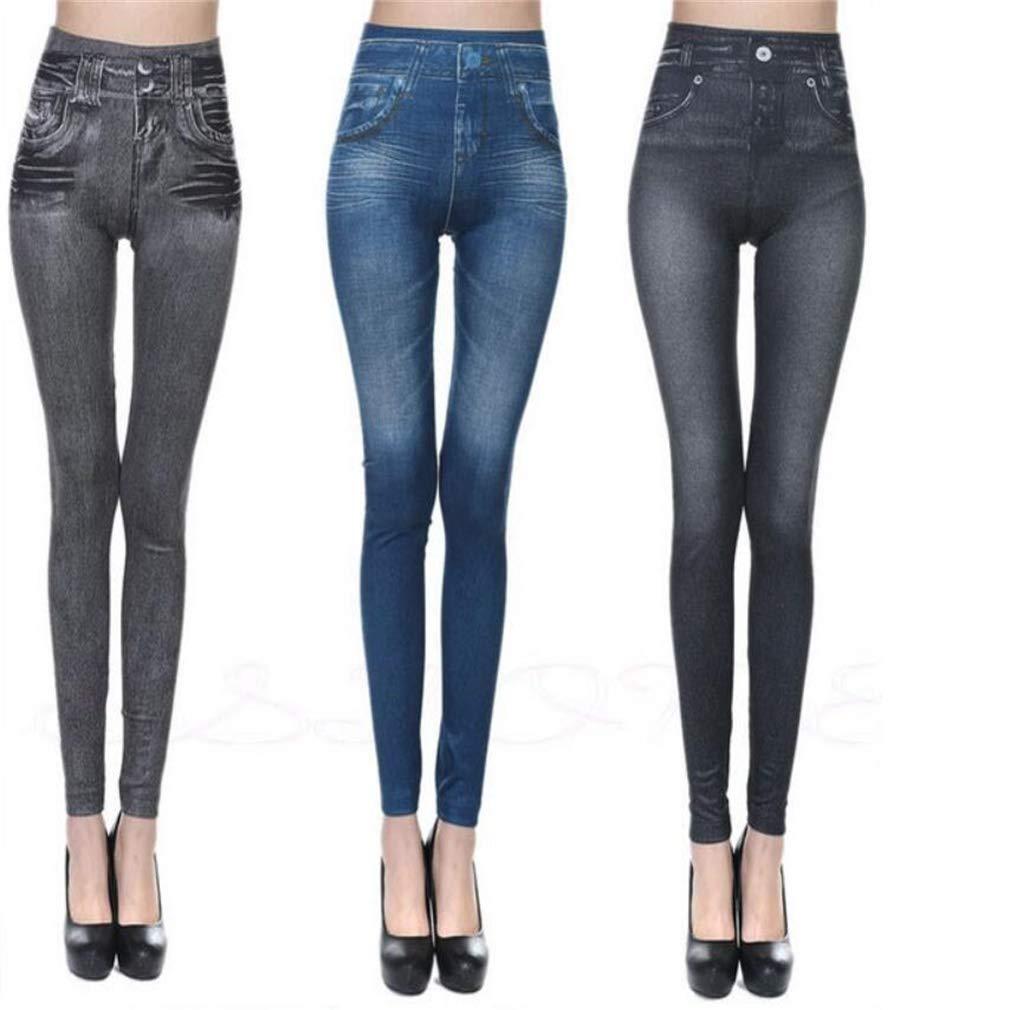 Tuersuer Ideal Gift Women's Slim Denim Pants Pockets, Seamless Leggings (Color : Black/Grey/Blue, Size : S/M)