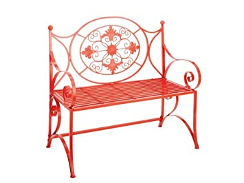 Gorgeous Red Garden Bench With Grill Design U0026 Slat Seat 21453