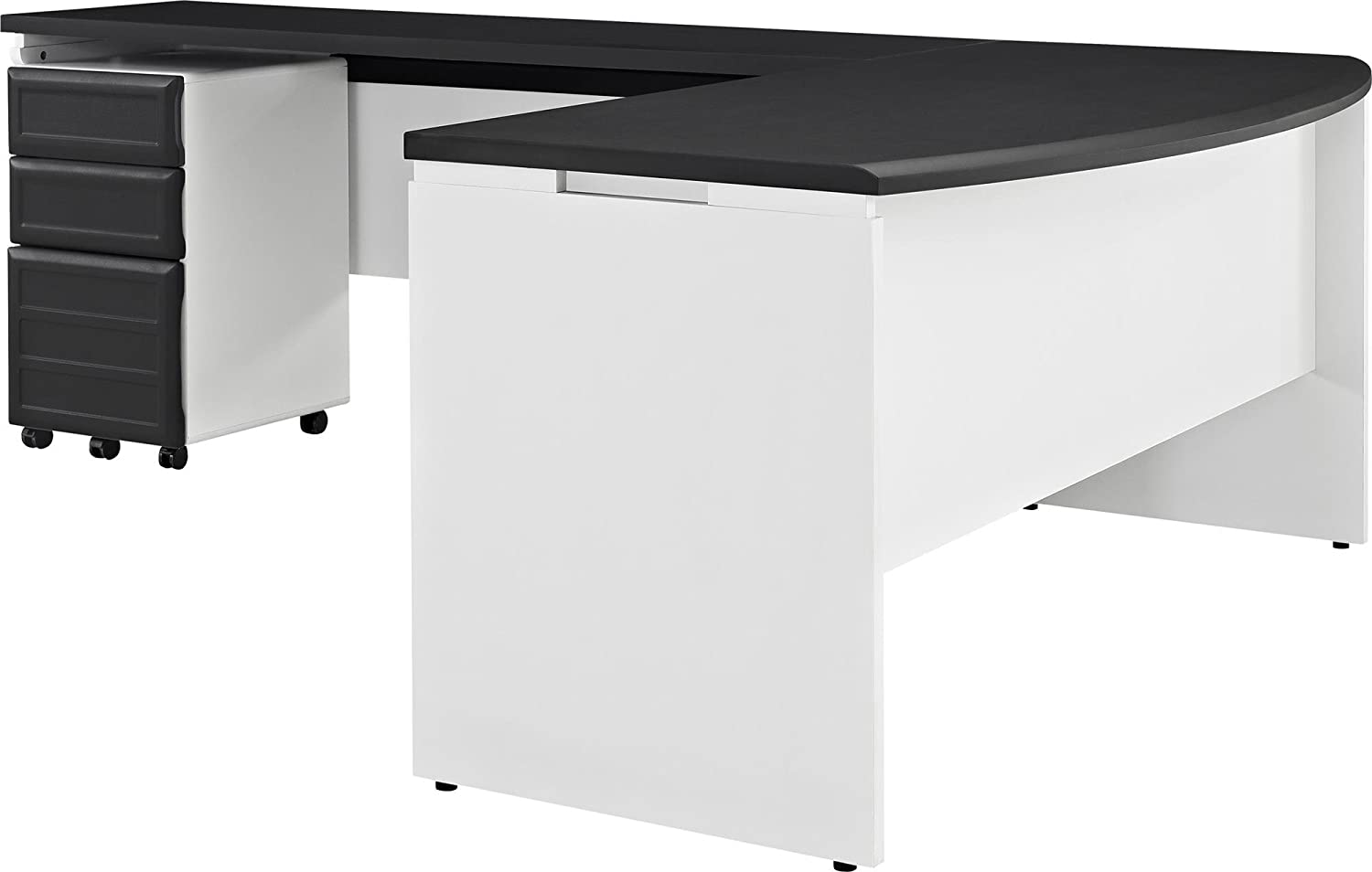 Ameriwood Home Pursuit Office Set with Mobile File Cabinet Bundle, Gray