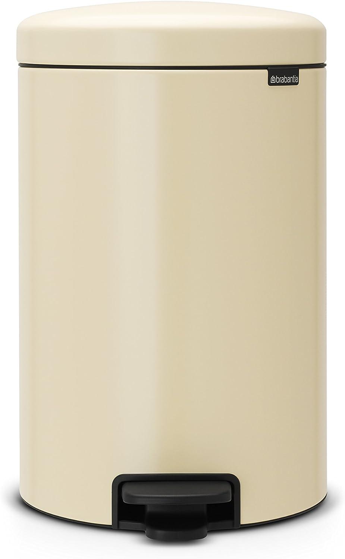 Brabantia Cubo de Basura con Pedal, Acero Inoxidable, Almendra, 20 l