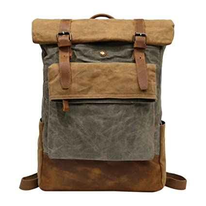 a1fc0360d9e8 Amazon.com: Zhuhaitf Unisex Retro Roll Top Travel Backpack ...