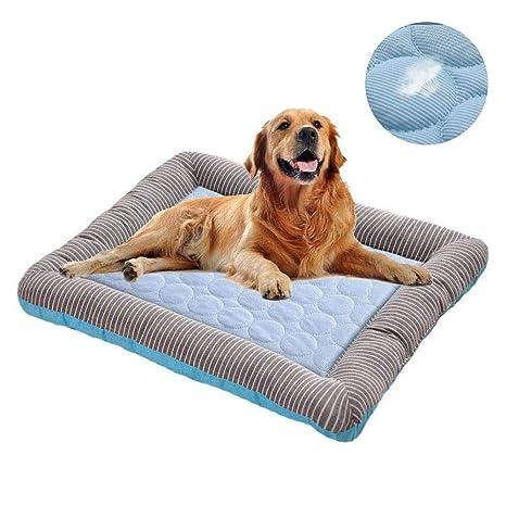 Hianiquaime Alfombrilla Refrescante para Mascota Fresco Cojín Fría Cama Cómoda Dormir para Perros Gatos Perrito Gatito Azul Rosa ML 55x45cm 76x58cm