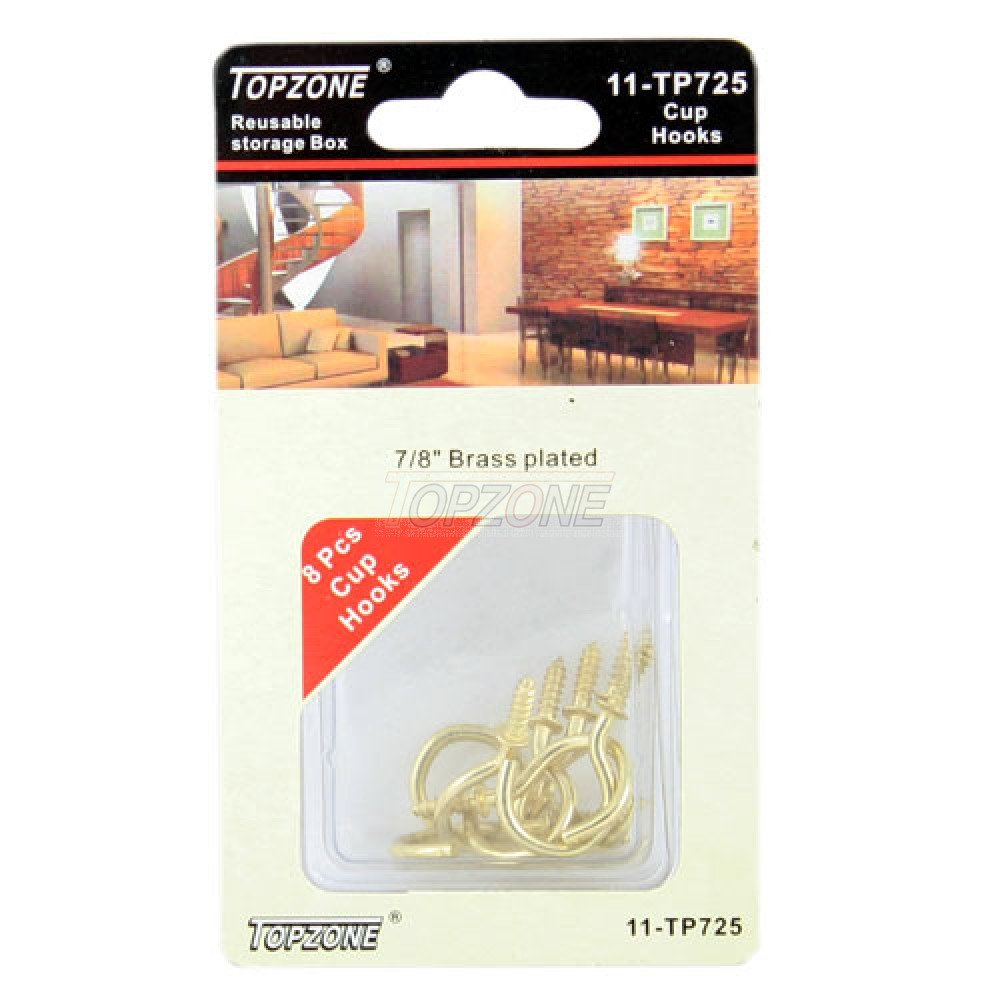 Topzone 8pcs 7/8'' Cup Hooks, Brass Plated