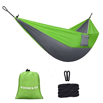 Homitt 2 Person Outdoor Camping Hammock Set with 2M 6.56FT Hammock Tree Straps 2 Solid Carabiners for Travelling Hiking Backpacking Motorcycle Trips Beach or Mountain Green Grey