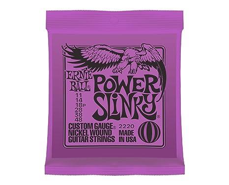 Ernie Ball Power Slinky cuerdas para guitarra eléctrica de calibre .011-.048 Custom