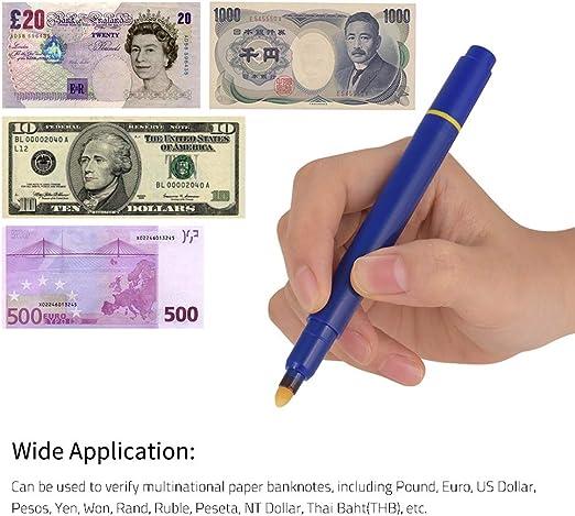 Entweg Counterfeit Pen,Multi-function UV Light Money Counterfeit Detector Pen Mini Banknote Tester Pen Currency Cash Checker Money Fake Dollar Marker for US Dollar Euro Pound Yen Korean Won