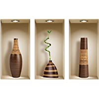 The Nisha Art Magic 3D Vinyl Removable Wall Sticker Decals DIY, Set of 3, Brown Vases 124-AU