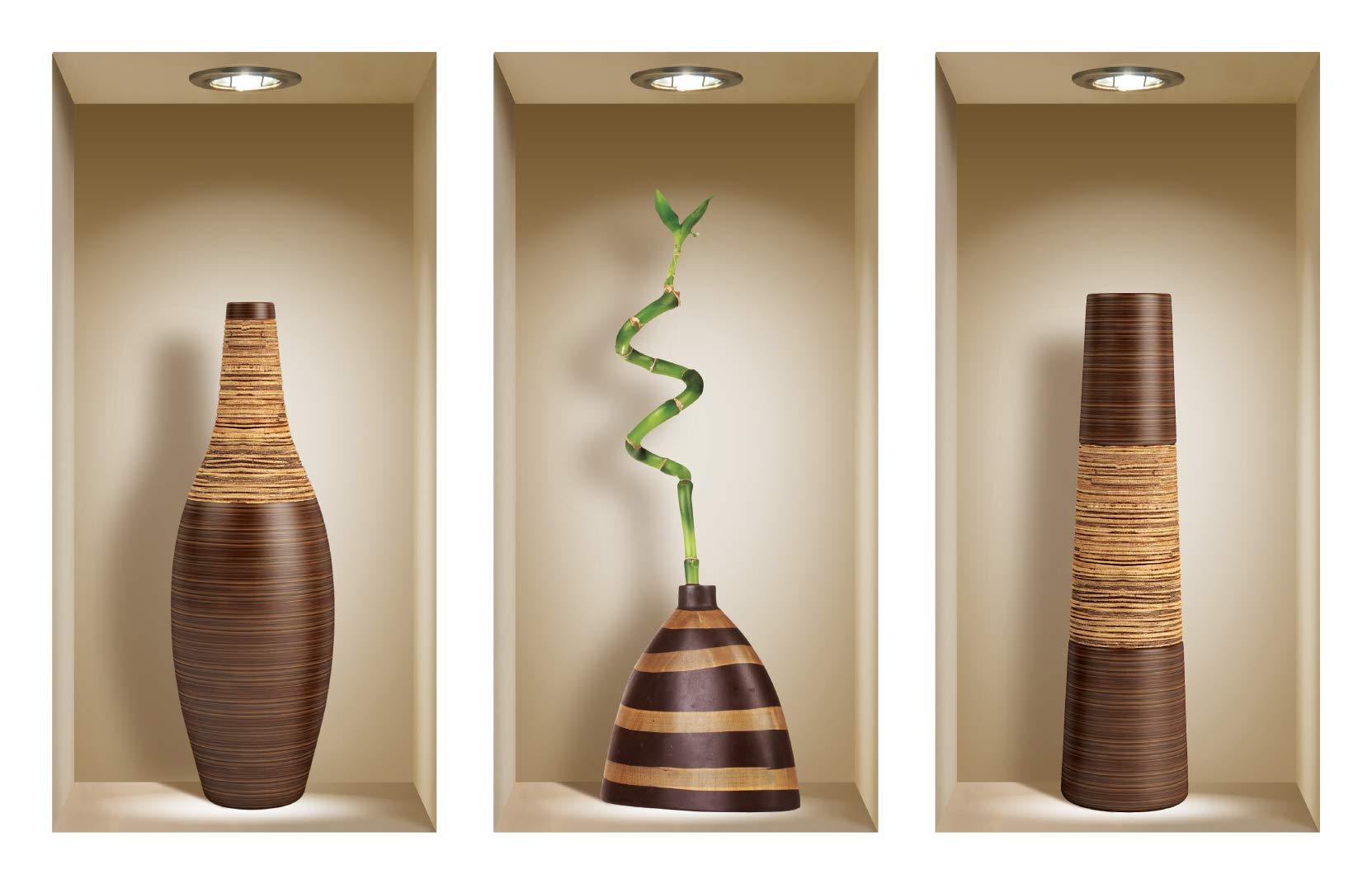 The Nisha Art Magic 3D Vinyl Removable Wall Sticker Decals DIY, Set of 3, Brown Vases