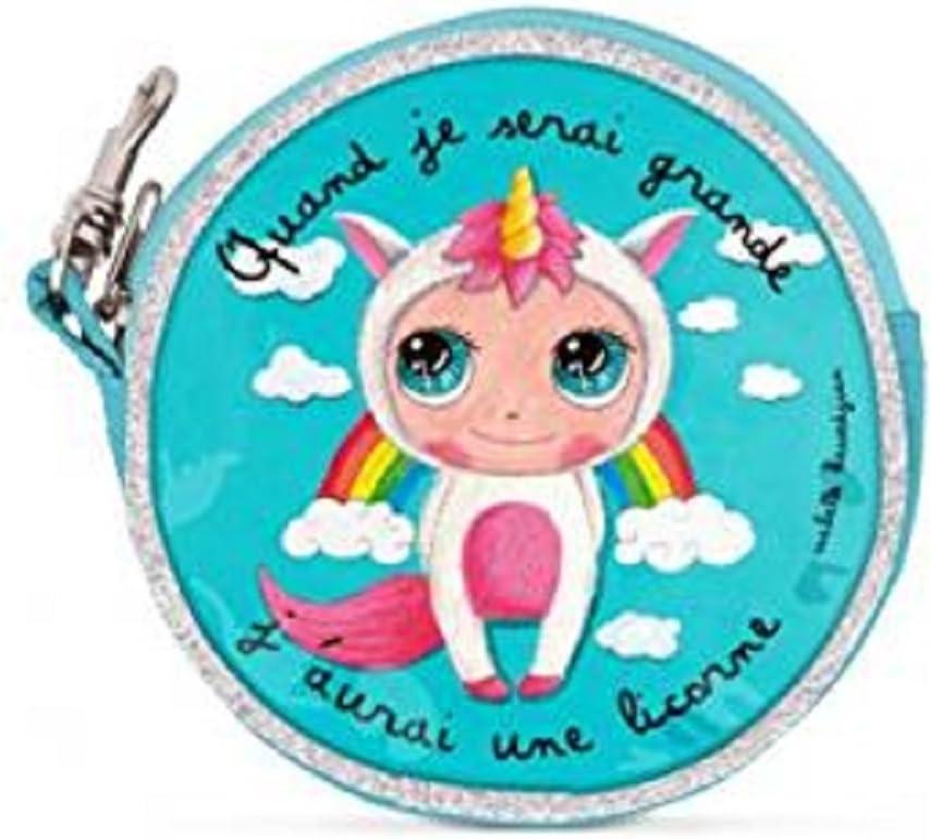 Label tour Porte monnaie rond licorne