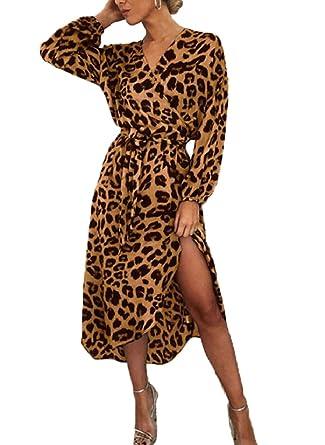 faaebb452dced0 OneTwoTG Women V-Neck Long Sleeve Asymmetric Maxi High Rise Leopard Print Dress  Brown XL