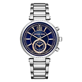 6de7f04dc2a7 Image Unavailable. Image not available for. Color  Michael Kors MK6224  Ladies Sawyer Navy Blue Steel Chronograph Watch